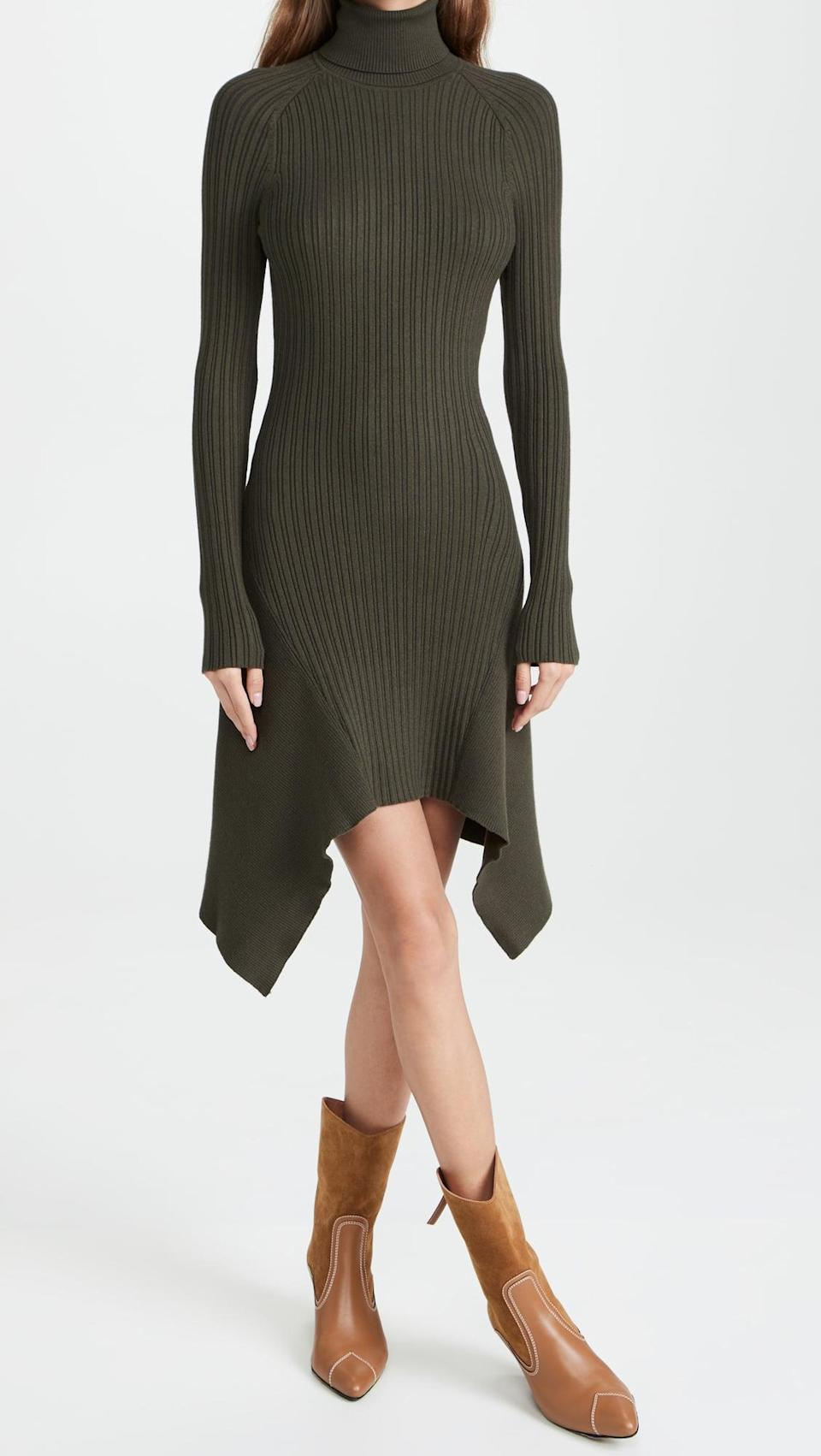 <p>This olive green <span>Ramy Brook Miley Dress</span> ($395) is adorable. We're into the hemline and the turtleneck.</p>