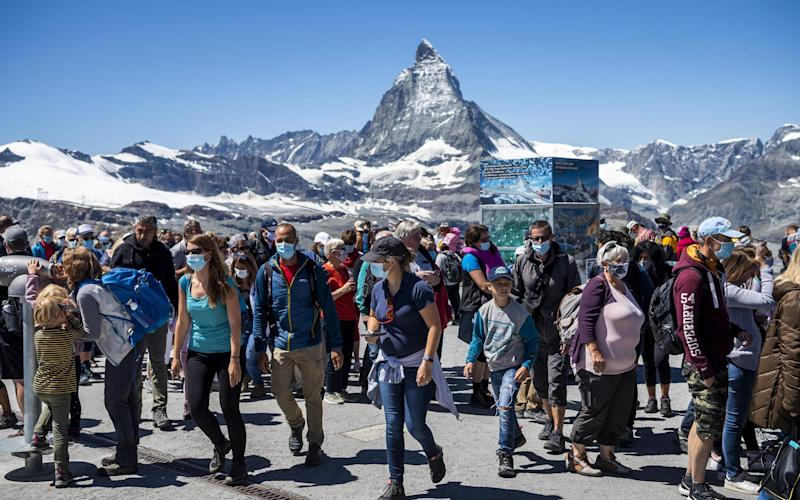 Tourists in Zermatt, the Swiss Alps, last week - shutterstock