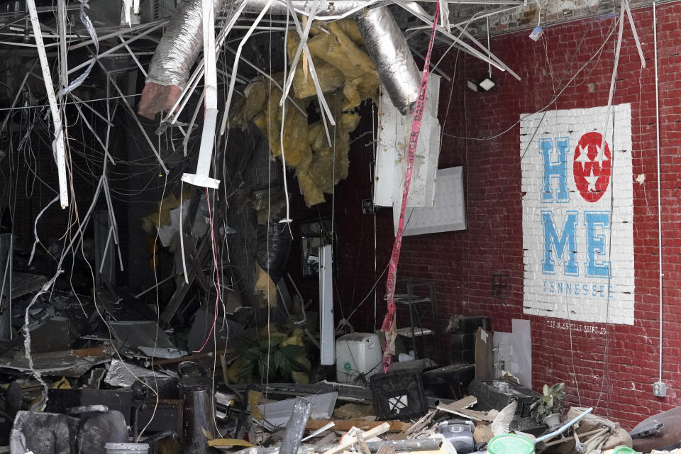 Damage to buildings that occurred in a Dec. 25, 2020, suicide bombing are seen Friday, June 25, 2021, in Nashville, Tenn. Six months after a Christmas Day bombing ripped a hole in historic downtown, workers continue to chip away at cleanup efforts so that revitalization can begin. The tediously slow process has meant workers haven't been able to access some of the buildings until recent weeks. (AP Photo/Mark Humphrey)