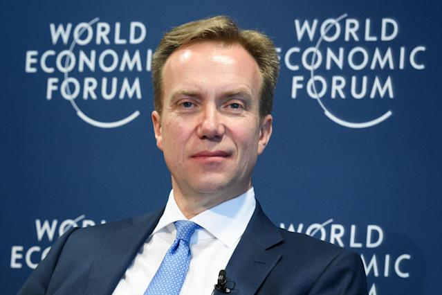 World Economic Forum president Borge Brende called for the world to unite to tackle climate change. Photo: Fabrice Coffrini/AFP via Getty Images