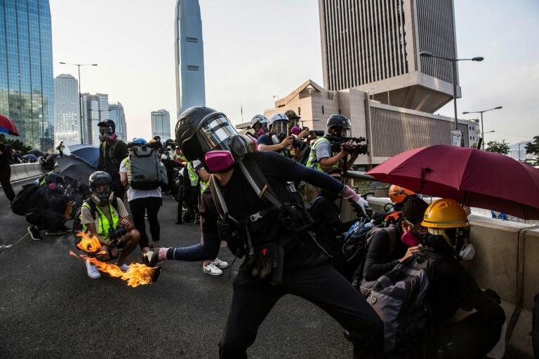 Police said protestors threw 80 Molotov cocktails during weekend clashes (AFP Photo/Isaac LAWRENCE)