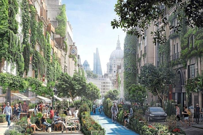 London's Fleet Street is transformed into a verdant paradise full of living greenery, as digitally transformed by WATG.