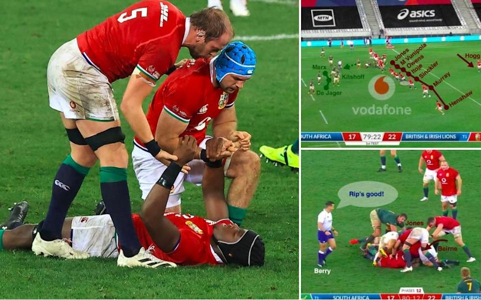 Alun Wyn Jones and Tadhg Beirne celebrate with Maro Itoje at the final whistle  - Getty Images