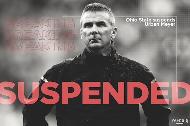 Urban Meyer was on paid administrative leave from Ohio State since Aug. 1 and will be suspended for the first three games of the season. (Getty)