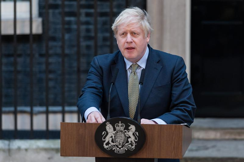 British Prime Minister Boris Johnson delivers a speech outside 10 Downing Street following the Conservative Party's landslide victory in the UK General Election on 13 December, 2019 in London, England. The Conservative Party under Boris Johnson's leadership has achieved a Parliamentary majority in yesterday's general election. (Photo by WIktor Szymanowicz/NurPhoto via Getty Images)