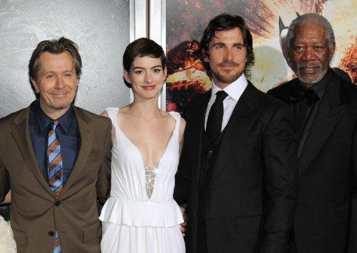 "(L-R) Actors Gary Oldman, Anne Hathaway, Christian Bale and Morgan Freeman attend ""The Dark Knight Rises"" premiere"