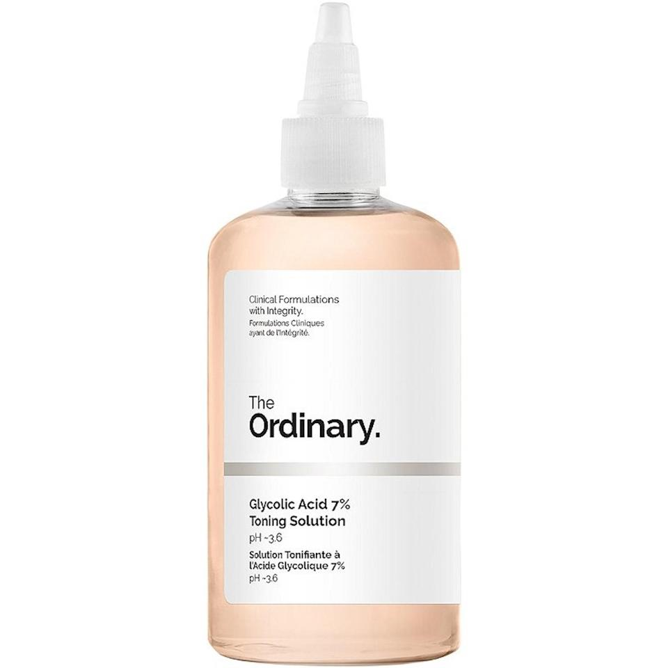 "<p>The Ordinary continues to dominate this list, this time with the addition of an <a href=""https://www.allure.com/gallery/what-you-didnt-know-about-lactic-salicylic-citric-glycolic-acid-creams?mbid=synd_yahoo_rss"" rel=""nofollow noopener"" target=""_blank"" data-ylk=""slk:exfoliating glycolic acid"" class=""link rapid-noclick-resp"">exfoliating glycolic acid</a> toner. Seven percent is nothing to sneeze at, but it won't totally strip your skin either, which makes this a nice acid for beginners. (And if you're ready to level up, try a <a href=""https://www.allure.com/story/sobel-skin-rx-glycolic-acid-peel-review?mbid=synd_yahoo_rss"" rel=""nofollow noopener"" target=""_blank"" data-ylk=""slk:30 percent glycolic acid peel"" class=""link rapid-noclick-resp"">30 percent glycolic acid peel</a>.)</p> <p><strong>$9</strong> (<a href=""https://shop-links.co/1704456776808953536"" rel=""nofollow noopener"" target=""_blank"" data-ylk=""slk:Shop Now"" class=""link rapid-noclick-resp"">Shop Now</a>)</p>"
