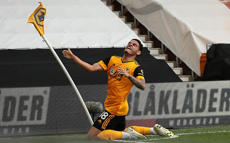 Morgan Gibbs-White celebrates after scoring Wolves' 90th-minute winner - James Williamson - AMA/Getty Images