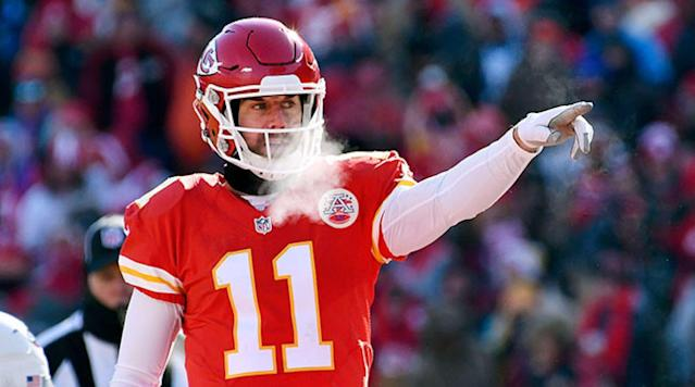 """<p>The Kansas City Chiefs are expected to listen to trade offers for veteran quarterback Alex Smith following the season, <a href=""""http://www.espn.com/nfl/story/_/id/20733619/alex-smith-kansas-city-chiefs-likely-block-2018"""" rel=""""nofollow noopener"""" target=""""_blank"""" data-ylk=""""slk:reports"""" class=""""link rapid-noclick-resp"""">reports</a> ESPN.com's Adam Schefter.</p><p>Smith, 33, is making $10.8 million in base salary this season and $14.5 million in 2018. He is also due a $2 million bonus should he be on the roster on the third day of the league year.</p><p>Kansas City selected quarterback Patrick Mahomes in the first round of this year's NFL draft, and sent a 2017 first and third round pick and their 2018 first-round selection in order to move up and pick the former Texas Tech quarterback.</p><p>Smith threw for 368 yards and four touchdowns in Kansas City's 42-27 victory over the New England Patriots in the NFL season opener.</p><p>Smith has an 80-56-1 record as a starting quarterback in his 12–year NFL career.</p>"""