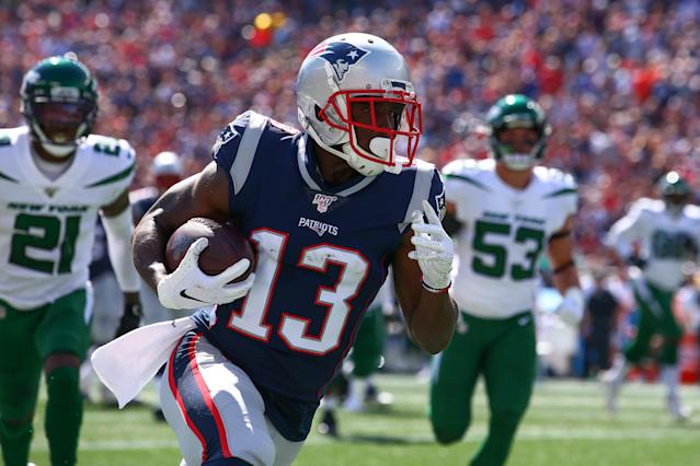 New England Patriots wide receiver Phillip Dorsett (13) scores a touchdown against the Jets. (Getty Images)