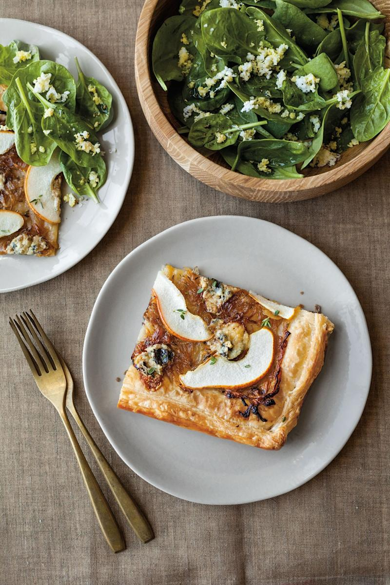 Pear, Blue Cheese, and Onion Tart with Spinach Salad