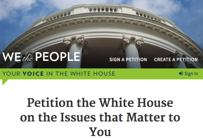 The White House petition page. (Screenshot: whitehouse.gov)