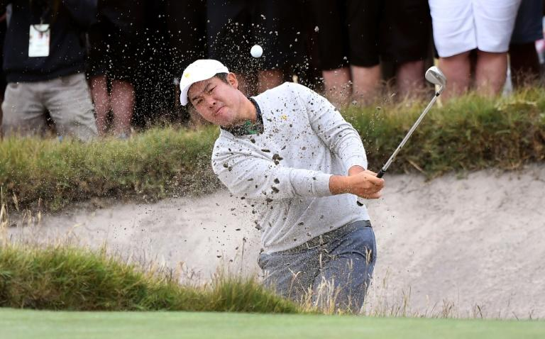 International Team players An Byeong-hun of South Korea lost to Webb Simpson putting the US 15-12 in front