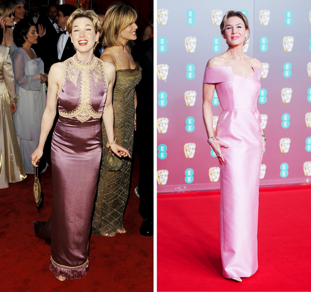 Left: At the 1999 Oscars.<br> Right: At the 2020 BAFTA Awards, where she won best actress for <em>Judy</em>.