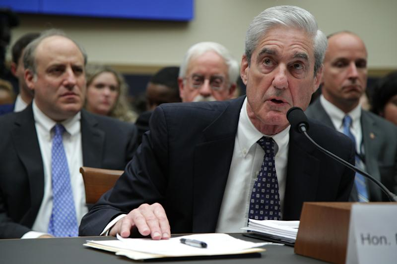 Former Special Counsel Robert Mueller testifies before the House Intelligence Committee about his report on Russian interference in the 2016 presidential election in the Rayburn House Office Building July 24, 2019 in Washington, DC. (Alex Wong/Getty Images)