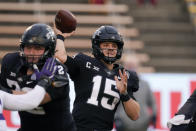 Iowa State quarterback Brock Purdy (15) throws a pass during the first half of an NCAA college football game against Kansas State, Saturday, Nov. 21, 2020, in Ames, Iowa. (AP Photo/Charlie Neibergall)