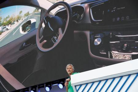 FILE PHOTO: Waymo CEO John Krafcik speaks on stage during the annual Google I/O developers conference in Mountain View, California, May 8, 2018. REUTERS/Stephen Lam