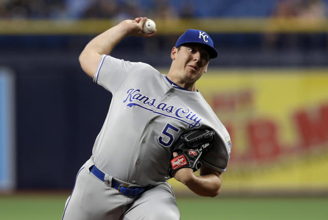 Kansas City Royals pitcher Brad Keller delivers to the Tampa Bay Rays during the first inning of a baseball game Monday, April 22, 2019, in St. Petersburg, Fla. (AP Photo/Chris O'Meara)