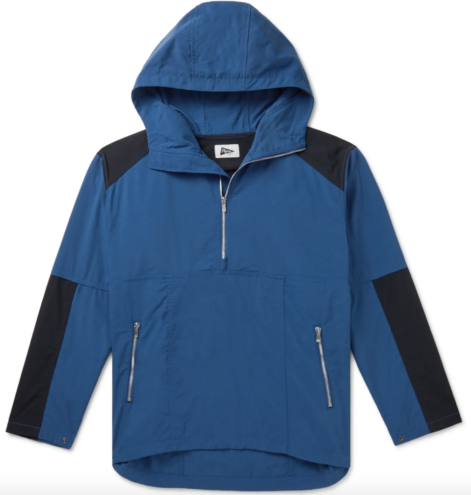 """<p><strong>Pilgrim Surf + Supply</strong></p><p>mrporter.com</p><p><strong>$85.50</strong></p><p><a href=""""https://go.redirectingat.com?id=74968X1596630&url=https%3A%2F%2Fwww.mrporter.com%2Fen-us%2Fmens%2Fproduct%2Fpilgrim-surf-and-supply%2Fclothing%2Fparkas%2Fcolour-block-nylon-hooded-half-zip-parka%2F8008779904995942&sref=https%3A%2F%2Fwww.esquire.com%2Fstyle%2Fmens-fashion%2Fg35083025%2Fmr-porter-end-of-season-sale-2020%2F"""" rel=""""nofollow noopener"""" target=""""_blank"""" data-ylk=""""slk:Buy"""" class=""""link rapid-noclick-resp"""">Buy</a></p>"""