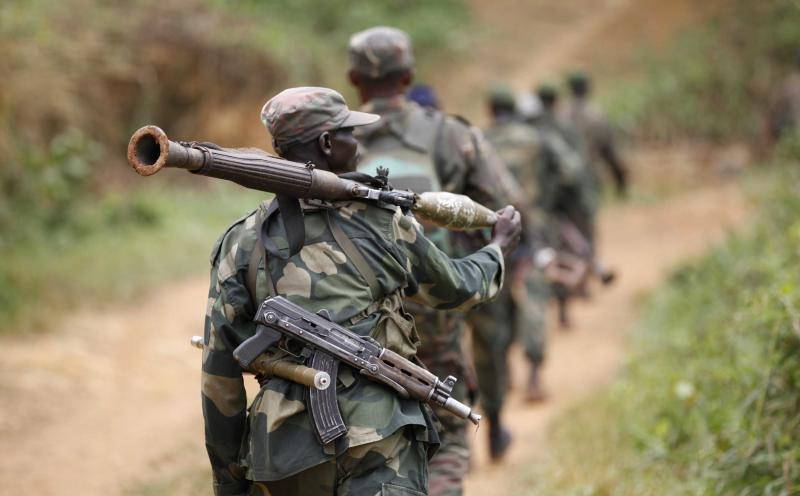 Democratic Republic of Congo military personnel patrol against Allied Democratic Forces and the National Army for the Liberation of Uganda rebels near Beni in North-Kivu province