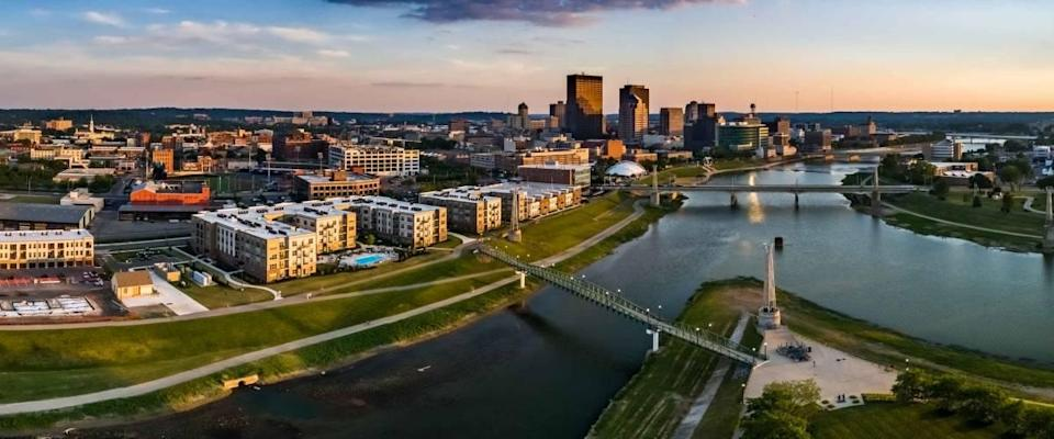 River through the City - a look at Dayton, Ohio from above the confluence of the Great Maimi and Mad Rivers