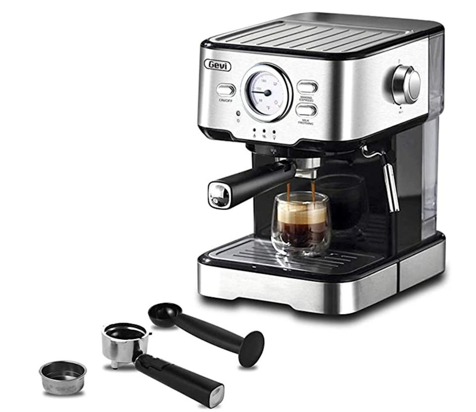 "Get the <a href=""https://amzn.to/3lhw3t5"" target=""_blank"" rel=""noopener noreferrer"">Gevi Espresso Machines 15 Bar Cappuccino Machine on sale for $100 </a>(normally $150) on Amazon."