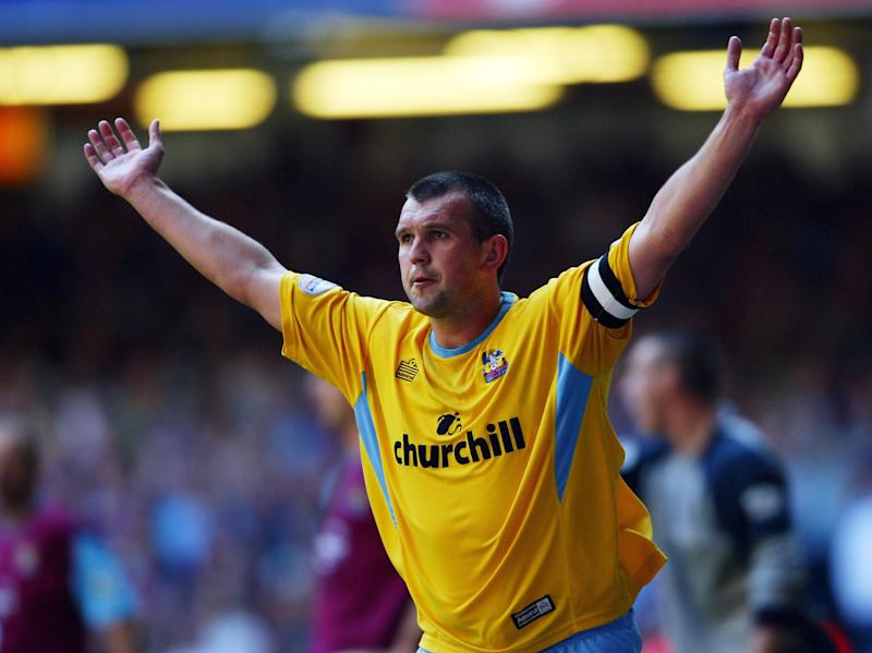 CARDIFF, WALES - MAY 29: Neil Shipperley of Crystal Palace celebrates scoring their first goal during the Nationwide Division One Play-Off Final between Crystal Palace and West Ham United at The Millennium Stadium on May 29, 2004 in Cardiff, Wales. (Photo by Stu Forster/Getty Images)