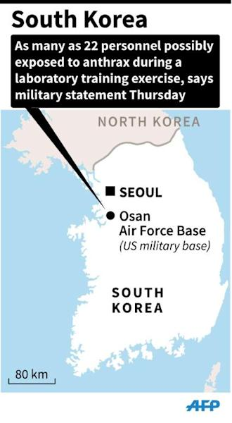 Map of South Korea locating the Osan Air Force Base, where as many as 22 personnel may have been exposed to anthrax