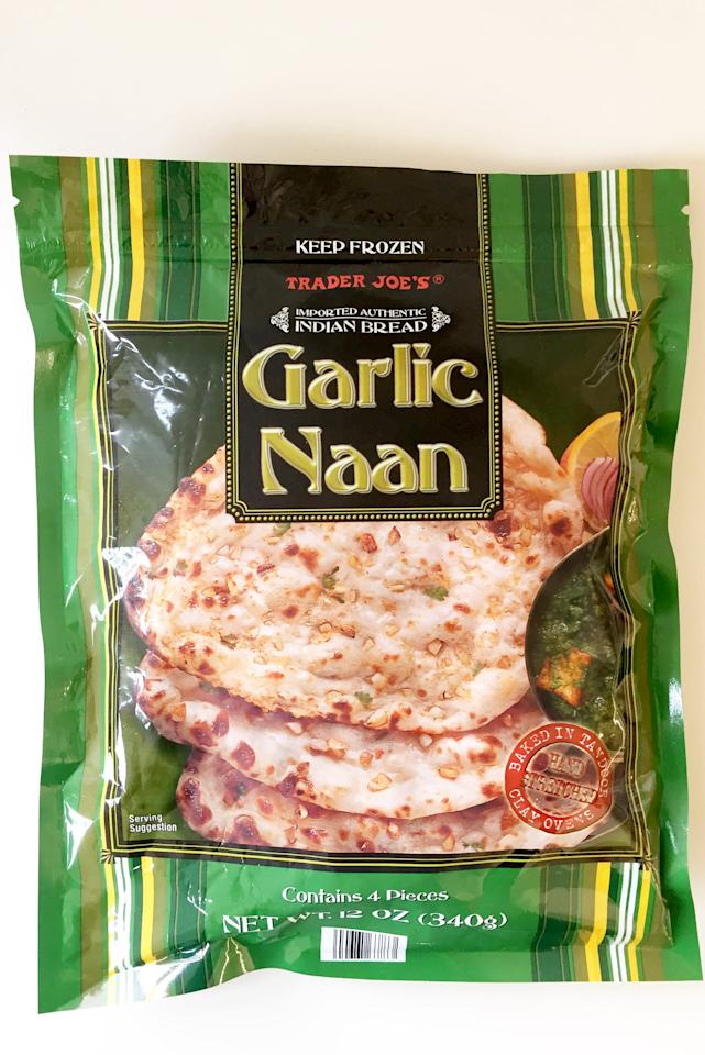 <p>This garlic naan is a super easy bread to make that heats up quickly and is great with Indian food or just a salad.</p>