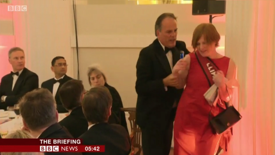 Jonny Mercer has backed Mark Field after he grabbed a climate change activist at a dinner in the City of London (Picture: PA/BBC)