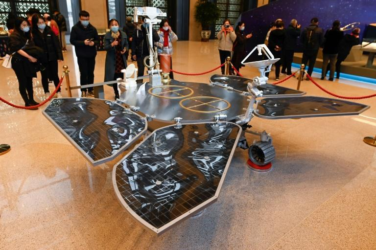 A model of the Tianwen-1 Mars rover, which is expected to spend around three months taking photos on Mars and collecting geographical data