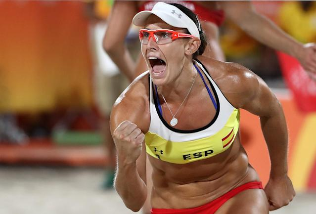 <p>Liliana Fernandez Steiner of Spain celebrates during the Women's Beach Volleyball preliminary round Pool B match against Barbora Hermannova and Marketa Slukova of Czech Republic on Day 3 of the Rio 2016 Olympic Games at the Beach Volleyball Arena on August 8, 2016 in Rio de Janeiro, Brazil. (Photo by Ezra Shaw/Getty Images) </p>