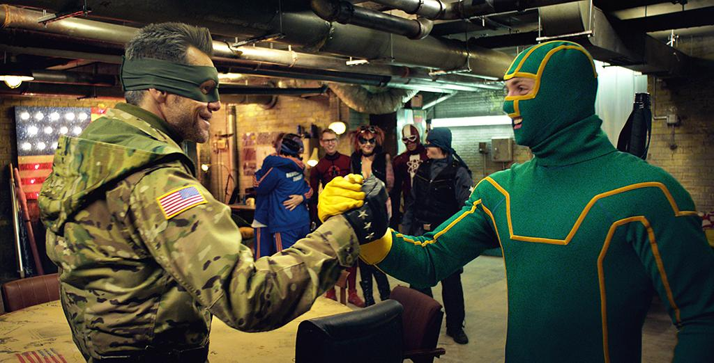 """Jim Carrey and Aaron Taylor-Johnson in Universal Pictures' """"Kick-Ass 2"""" - 2013"""