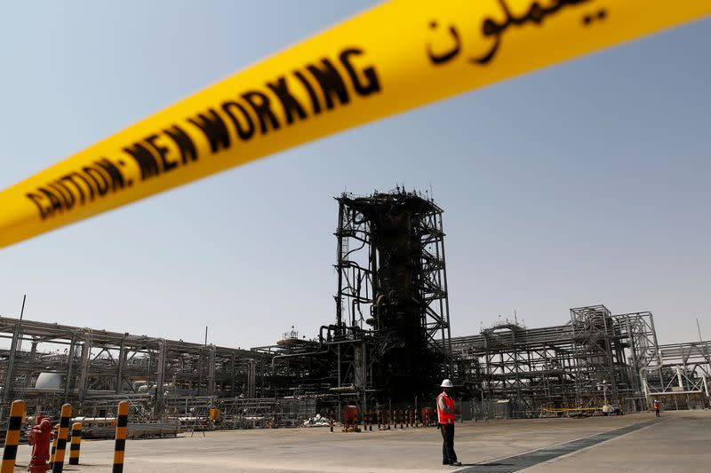 FILE PHOTO: A view shows the damaged site of Saudi Aramco oil facility in Khurais