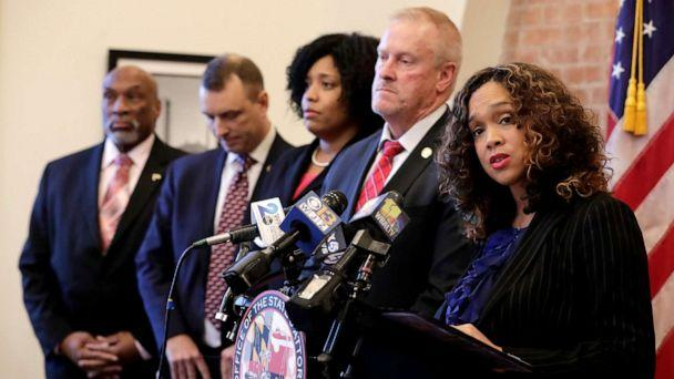 PHOTO: Maryland State Attorney Marilyn Mosby, right, speaks during a news conference announcing the indictment of correctional officers, Dec. 3, 2019, in Baltimore. (Julio Cortez/AP)