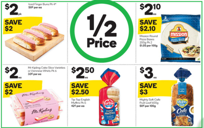 Five food products selling at half-price at Woolworths.