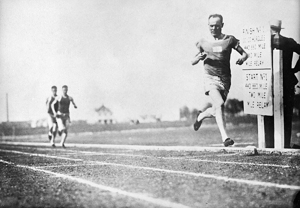 """<p>Known as one of the """"Flying Finns,"""" Paavo Nurmi was a decorated distance runner who won nine gold medals from 1920–1928. Hoping to compete in 1932, he was ultimately <a href=""""https://biography.yourdictionary.com/paavo-nurmi"""" rel=""""nofollow noopener"""" target=""""_blank"""" data-ylk=""""slk:banned due to claims that he was no longer an amateur"""" class=""""link rapid-noclick-resp"""">banned due to claims that he was no longer an amateur</a> after receiving payment for a tour in 1925. Competitors pleaded that he be allowed to race, but were ignored. </p>"""