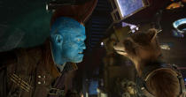 <p>Yondu Udonta (Michael Rooker), Peter Quill's surrogate father and leader of the Ravagers, and Rocket (Bradley Cooper) don't see eye to eye. Yondu sports an upgraded head fin, more closely resembling the comics. (Photo: Marvel) </p>