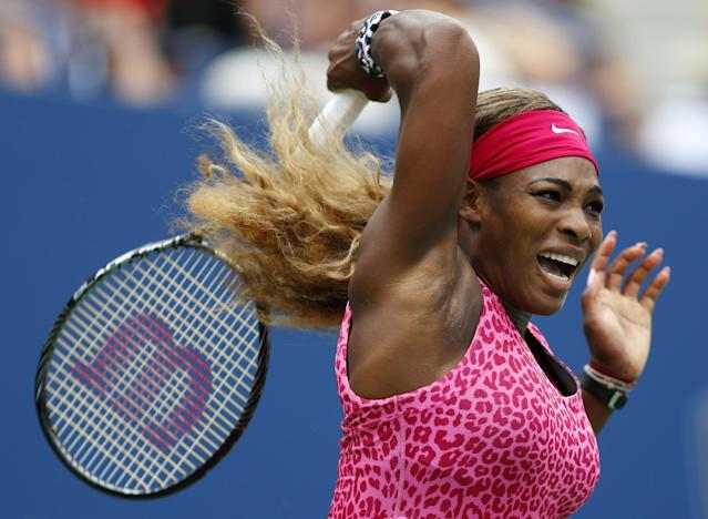 Serena Williams, of the United States, returns a shot against Varvara Lepchenko, of the United States, during the third round of the 2014 U.S. Open tennis tournament, Saturday, Aug. 30, 2014, in New York. (AP Photo/Matt Rourke)