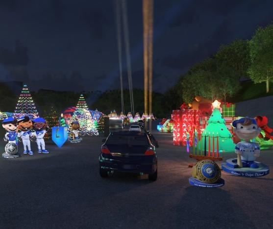 A rendering of the Dodgers' drive-thru Holiday Festival