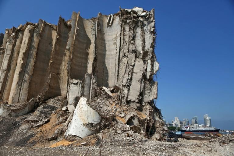 Damaged grain silos at the port of the Lebanese capital Beirut on June 13, 2021, almost a year after the August 4 massive explosion