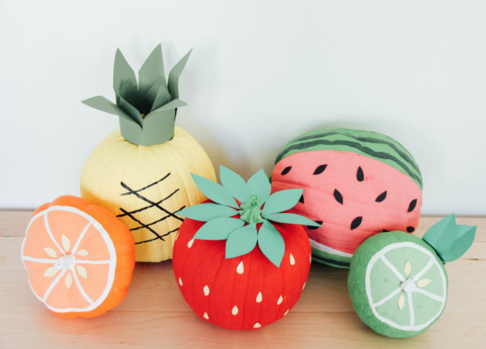 """<p>It may be fall, but there's no reason you can't decorate your Halloween pumpkins with a little summer inspiration.<br></p><p><em><strong>Get the tutorial from <a href=""""https://www.stylemepretty.com/living/2015/10/15/diy-fruit-pumpkins/"""" rel=""""nofollow noopener"""" target=""""_blank"""" data-ylk=""""slk:Style Me Pretty"""" class=""""link rapid-noclick-resp"""">Style Me Pretty</a>.</strong></em></p>"""
