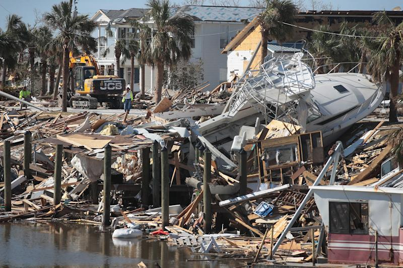 Debris from Hurricane Michael along the canal in Mexico Beach, Florida. (Photo: Scott Olson via Getty Images)