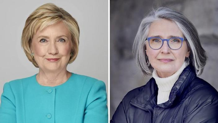 Headshots of Hillary Clinton, left, and novelist Louise Penny