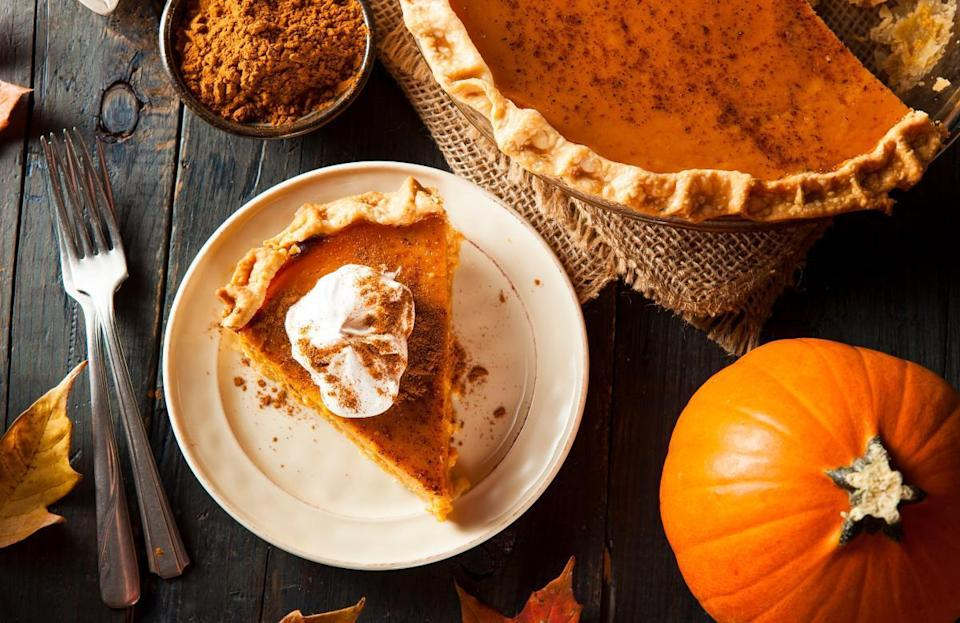 """<p>While there are tons of great <a href=""""https://www.thedailymeal.com/cook/dishes-make-with-canned-pumpkin-recipes?referrer=yahoo&category=beauty_food&include_utm=1&utm_medium=referral&utm_source=yahoo&utm_campaign=feed"""" rel=""""nofollow noopener"""" target=""""_blank"""" data-ylk=""""slk:dishes you can make using canned pumpkin"""" class=""""link rapid-noclick-resp"""">dishes you can make using canned pumpkin</a>, making your own pumpkin puree is not especially difficult and can wow your family and friends at Thanksgiving. To make your pie completely from scratch, all you need is a sugar pumpkin, a sheet tray and an oven. Preheat your oven to 400 degrees. Then, cut the sugar pumpkin in half and remove all of the seeds. Lay the pumpkin cut-side down on a baking tray lined with parchment paper. Bake for about one hour, or until the pumpkin is extremely tender and a knife can easily cut into it. Once the pumpkin is out of the oven, let it cool for a few minutes before scooping out the flesh with a spoon and blending it in a food processor until smooth. From there, you're well on your way to <a href=""""https://www.thedailymeal.com/recipes/pumpkin-pie-recipe-0?referrer=yahoo&category=beauty_food&include_utm=1&utm_medium=referral&utm_source=yahoo&utm_campaign=feed"""" rel=""""nofollow noopener"""" target=""""_blank"""" data-ylk=""""slk:making a pumpkin pie from scratch"""" class=""""link rapid-noclick-resp"""">making a pumpkin pie from scratch</a>.</p>"""