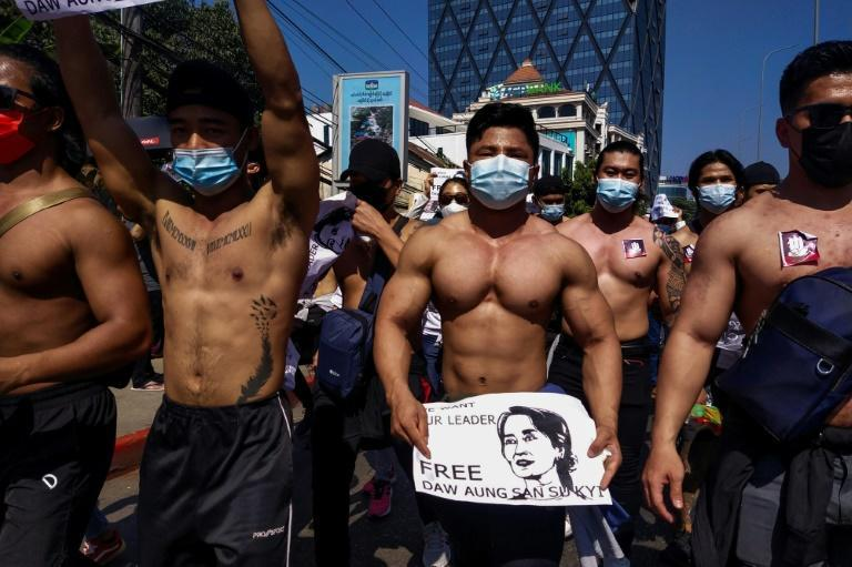 The fitness fanatics were among tens of thousands in Yangon undeterred from hitting the streets