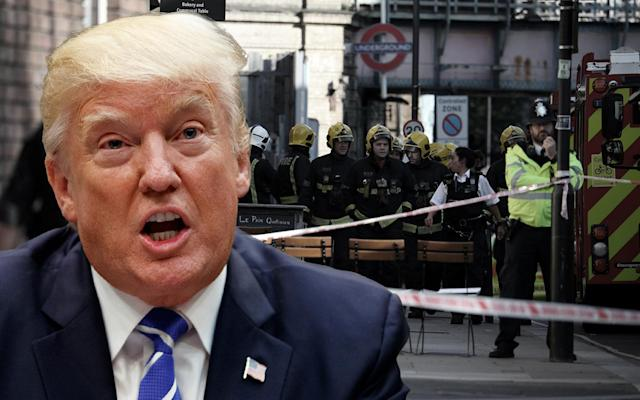 President Trump; London. (Yahoo News photo illustration; photos: AP, Hannah McKay/Reuters)
