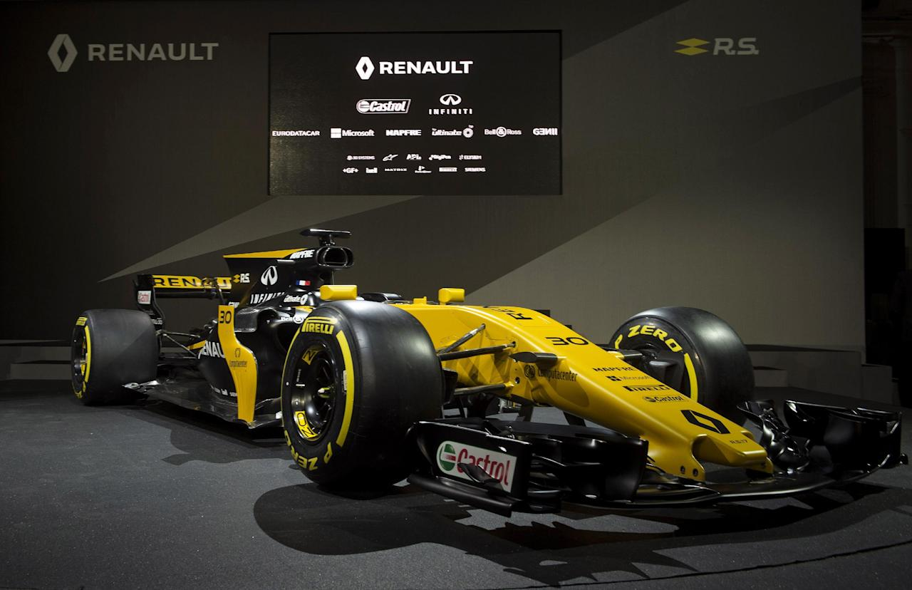Britain Formula One - F1 - 2017 Renault Formula One Car Launch - The Lindley Hall, London - 21/2/17 General view of the new car during the launch Reuters / Alan Walter Livepic