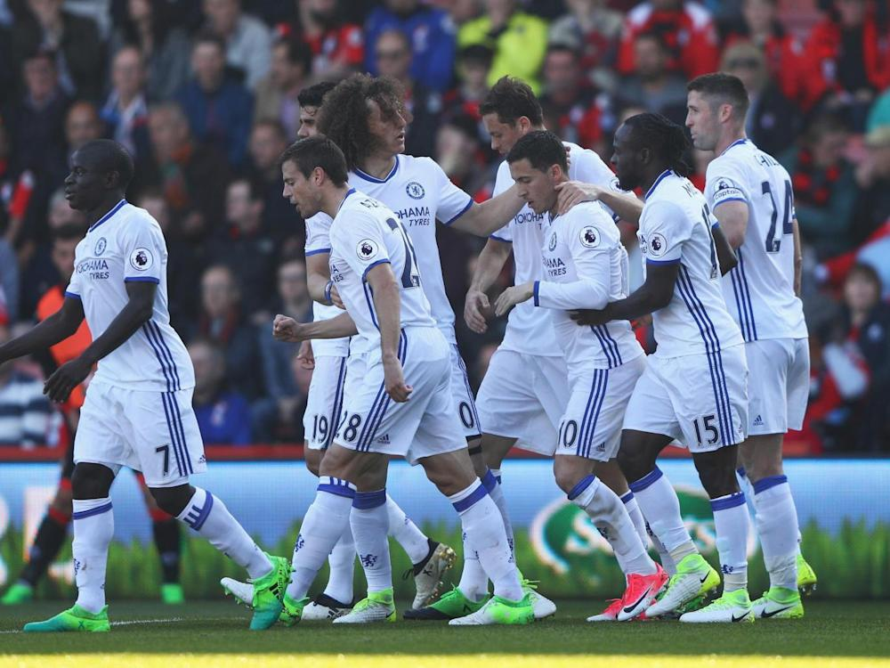Hazard is congratulated after scoring (Getty)