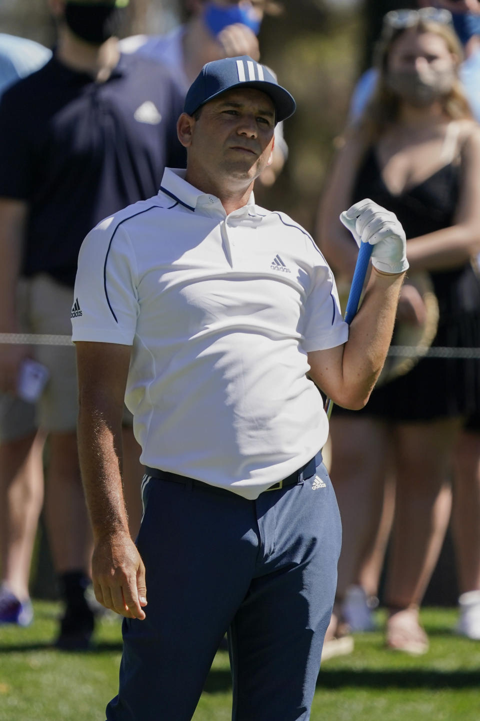 Sergio Garcia, of Spain, watches his tee shot on the sixth hole during the first round of the The Players Championship golf tournament Thursday, March 11, 2021, in Ponte Vedra Beach, Fla. (AP Photo/John Raoux)